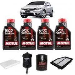 Troca De Oleo New Civic 2013 2015 Motul 6100 Save-lite 0w20