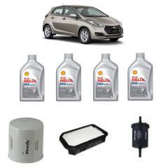 Kit Econômico Troca de Óleo Hyundai Hb20 1.6 Óleo Shell 5w30 Sintético 1lt com filtros