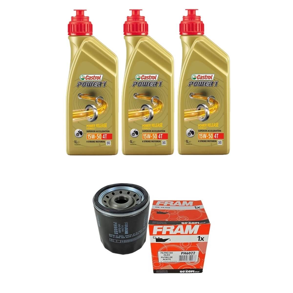 Kit Troca de Oleo Castrol Power 1 15w50 3lt + Filtro Fram PH6022