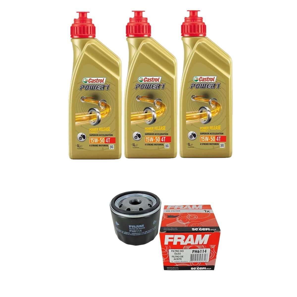 Kit Troca de Oleo Castrol Power 1 15w50 3lt + Filtro Fram PH6114
