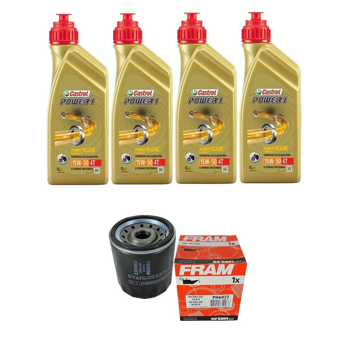 Kit Troca de Oleo Castrol Power 1 15w50 4lt + Filtro Fram PH6022