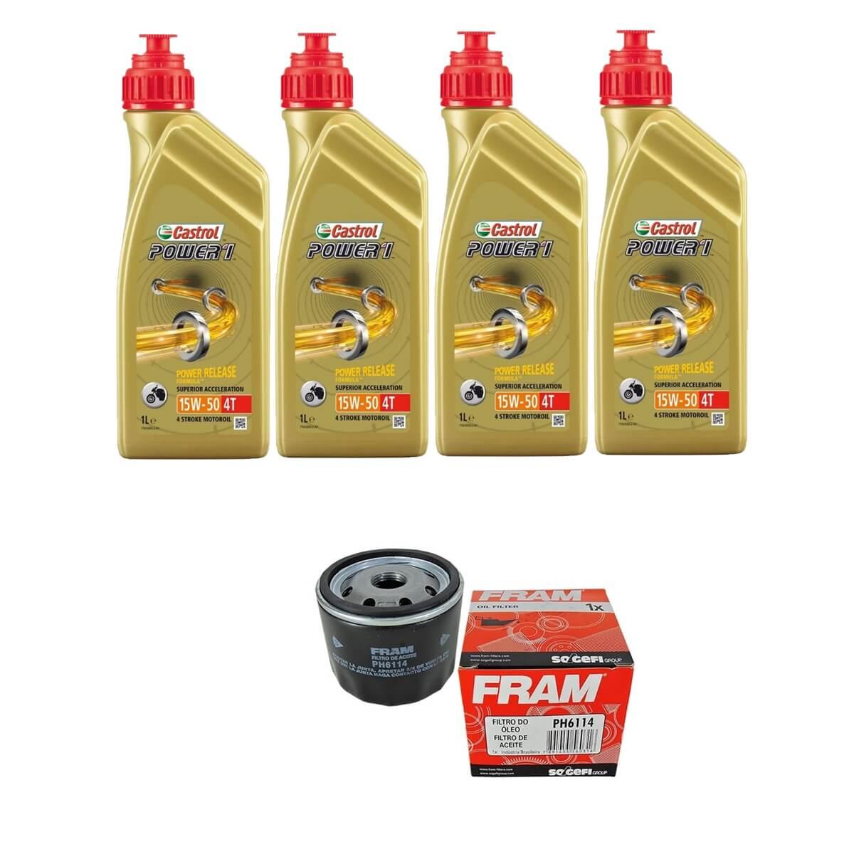 Kit Troca de Oleo Castrol Power 1 15w50 4lt + Filtro Fram PH6114
