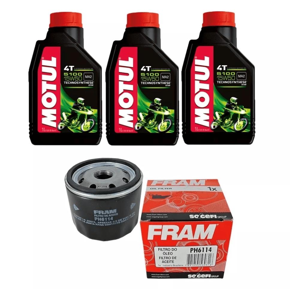 Kit Troca Óleo Motul 5100 15w50 3l + Filtro Ph6114 Bmw 800 em até 6x sem juros