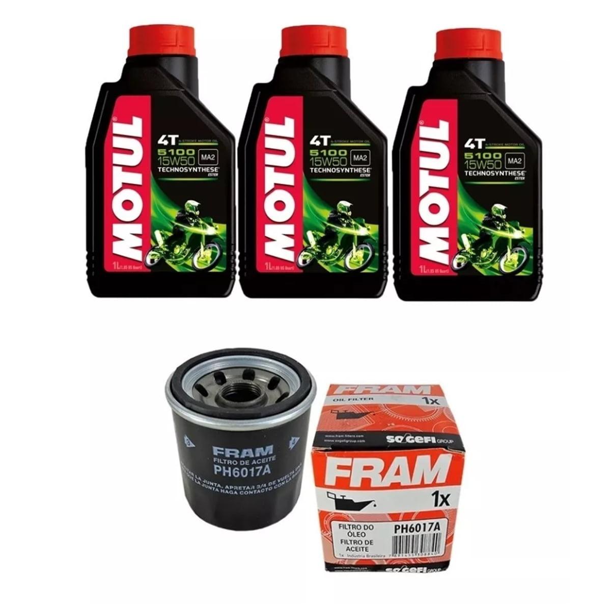 Kit Troca Oleo Motul 5100 15w50 4t 3l + Filtro Ph6017 Moto em até 6x sem juros