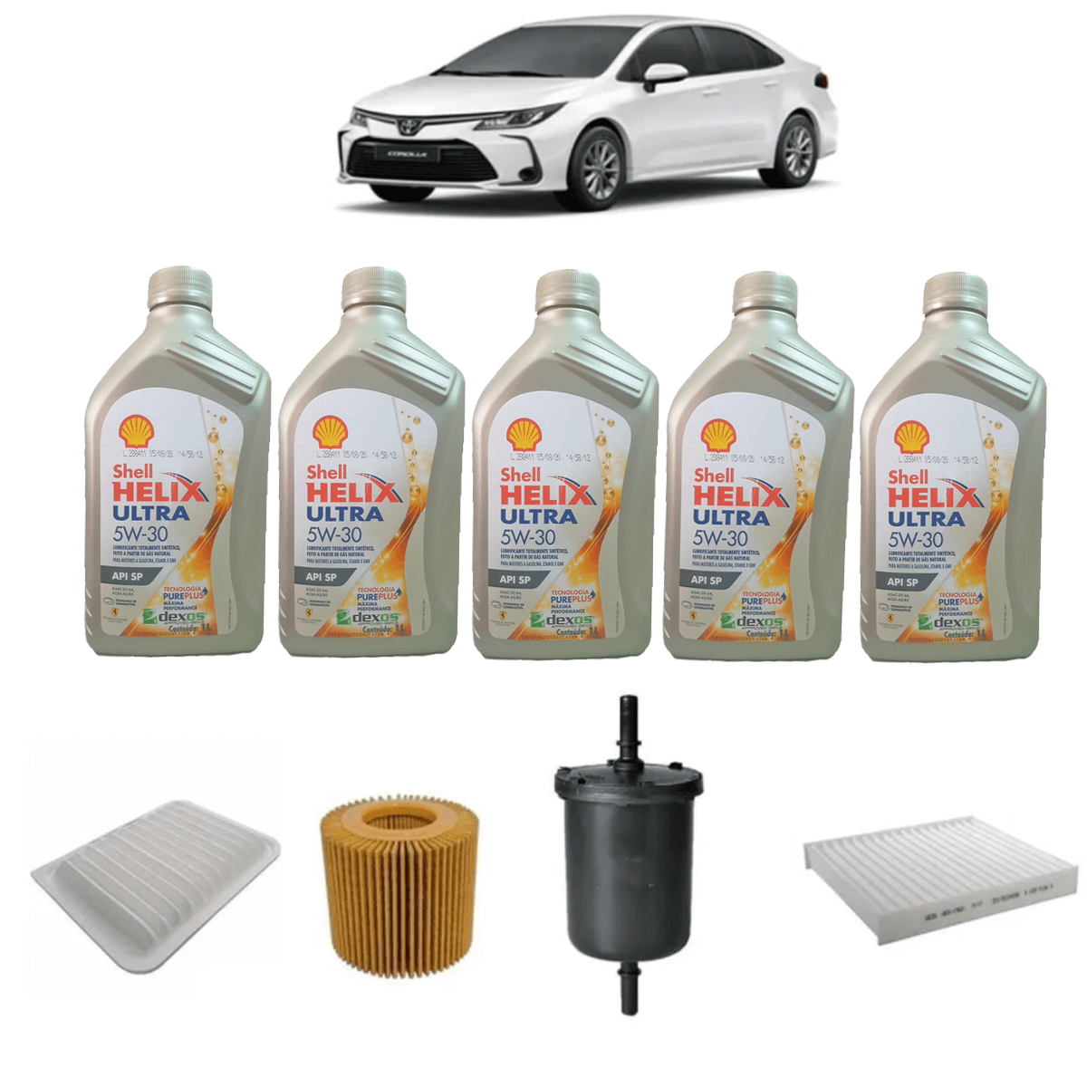 Kit De Filtros E Oleo Corolla 2.0 Xei Xrs Shell Ultra 5w30 em até 6x sem juros
