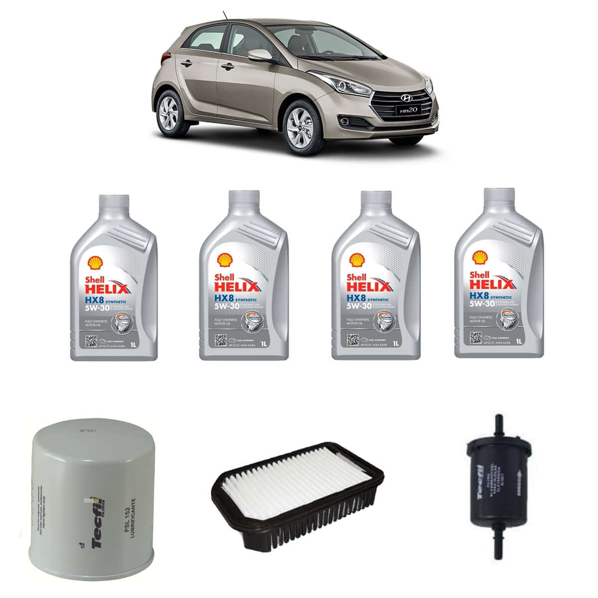 Kit Econômico Troca de Óleo Hyundai Hb20 1.6 Óleo Shell 5w30 Sintético em até 6x sem juros
