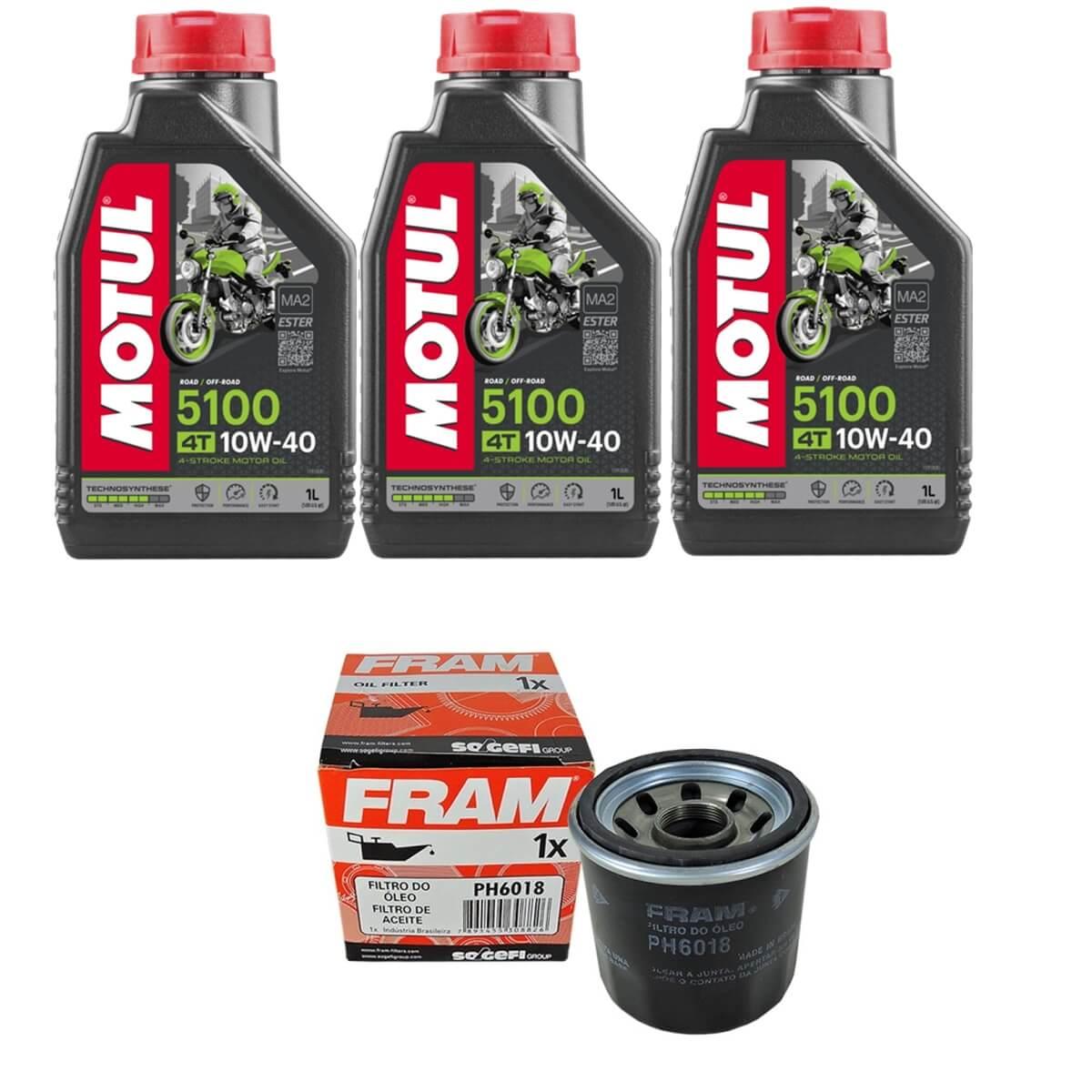 Troca Óleo Motul 5100 10w40 4t 3l + Filtro Fram PH6018 em até 6x sem juros